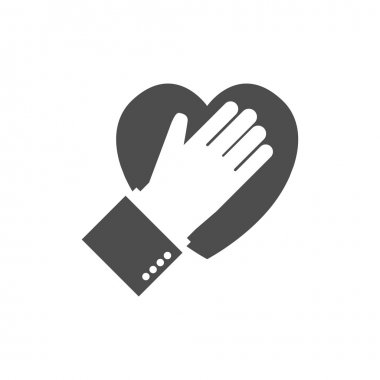 Hand on heart icon. Logo. Flat design.