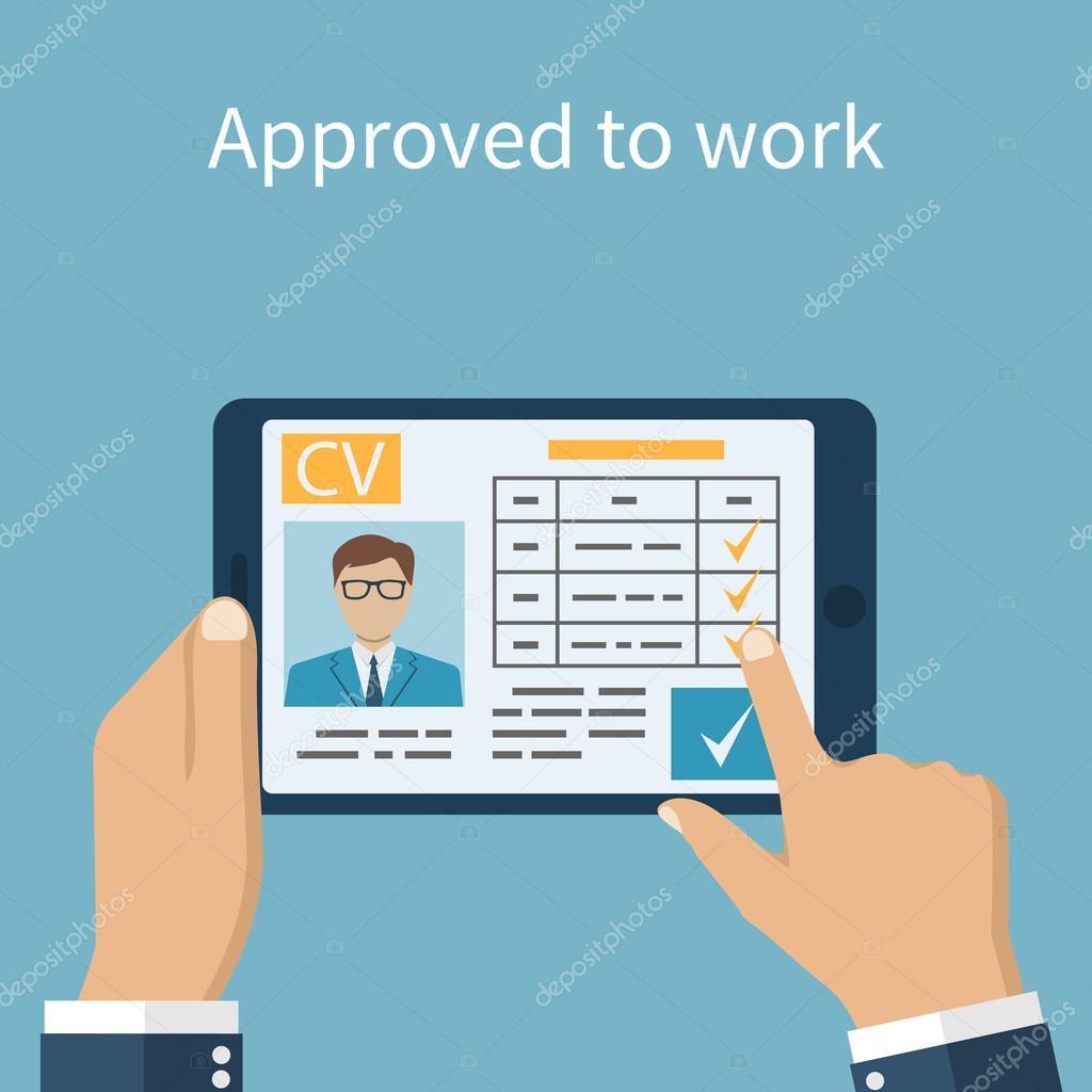 approuv u00e9 pour travailler  employeur sur la tablette  u00e0 la recherche de cv  u2014 image vectorielle