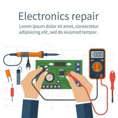Electronics repair. Tester checking