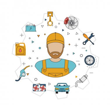 Car mechanic with flat icons tools and spare parts