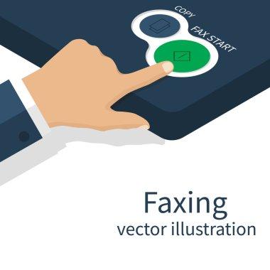 Hand pushing start button fax