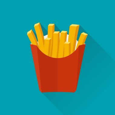 French fries. Vector illustration, flat design. French fries in paper box. French fries in isolated flat design with long shadow. French fries fast food. French fries in a red package. clip art vector
