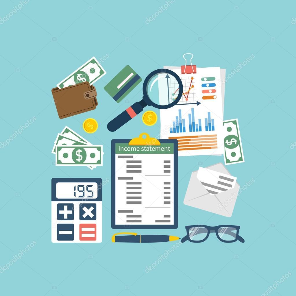 Declaración de la renta. Contabilidad Finanzas — Vector de stock ...