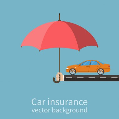 Hand insurer with an umbrella that protects the car.