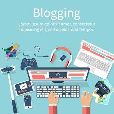 Concept blogging vector