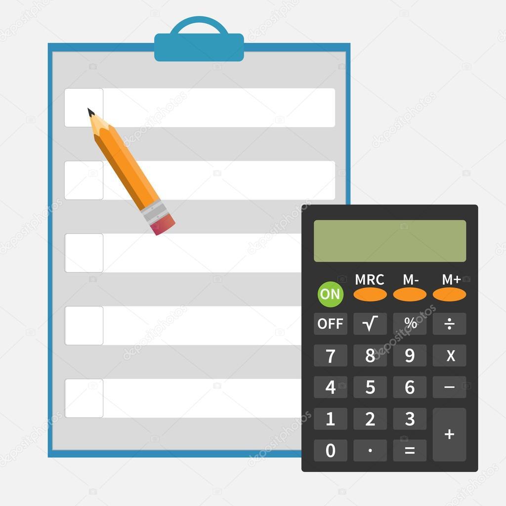 Calculator Pencil Notepad Stok Vekt R Threecvet