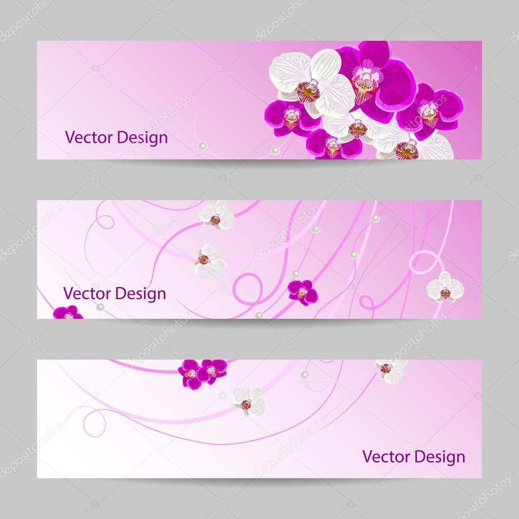 Set of horizontal banners with flowers