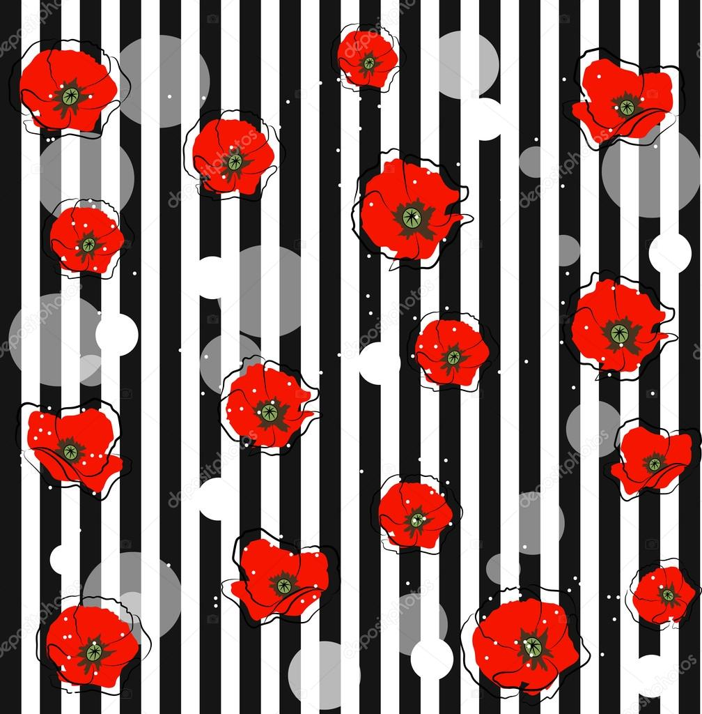 Abstract red poppy flowers
