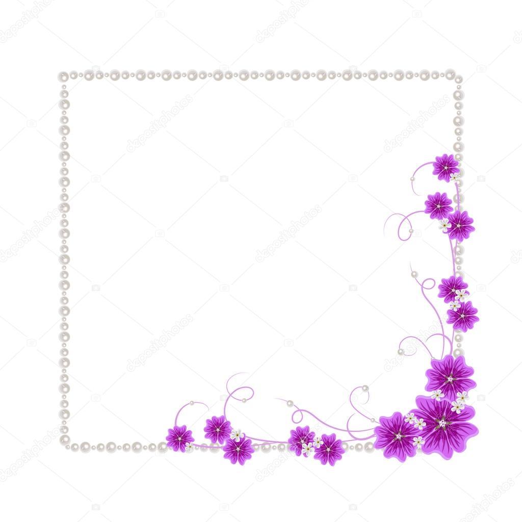 Marco de flores con perlas — Archivo Imágenes Vectoriales © debopre ...