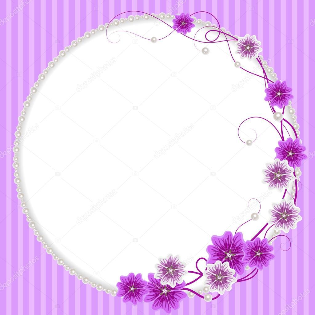 Delicado marco de flores de malva y de perlas — Vector de stock ...