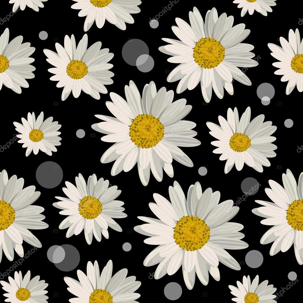 Seamless Pattern With Daisy Flowers Stock Vector Deboprevail