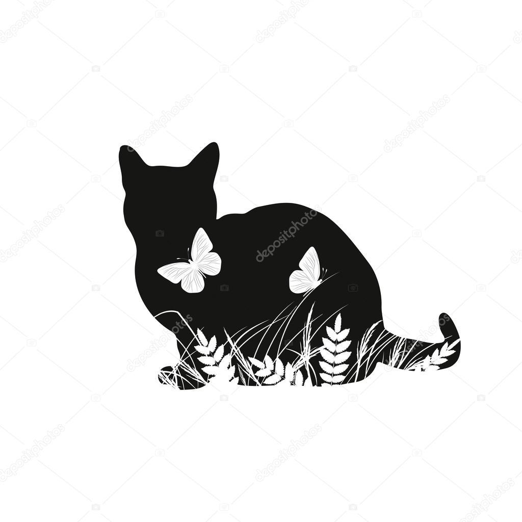 Gatos Siluetas Jugando Siluetas De Gato Con Mariposas Vector De
