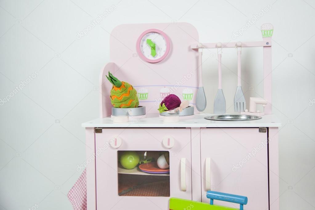 Zabawka Dzieci Różowa Kuchnia Z Naczyniami żywności I Zegar