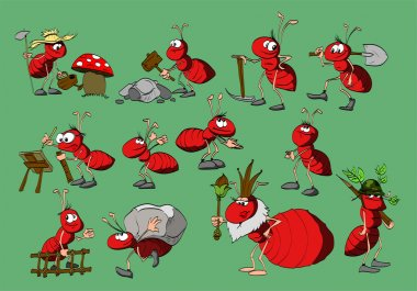 Collection of cute ant illustrations.