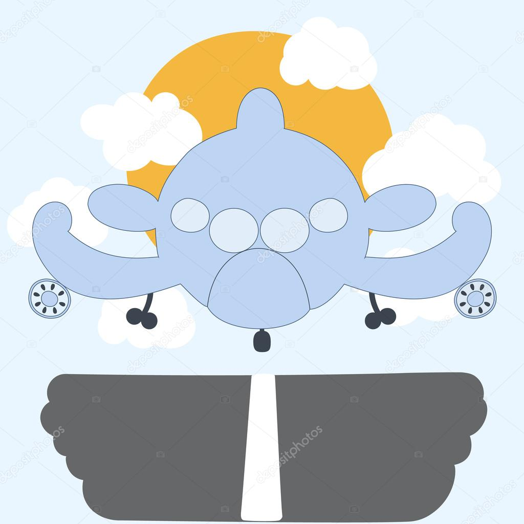 Cartoon Plane Landing With Clouds And Sun Cute Toy Airplane