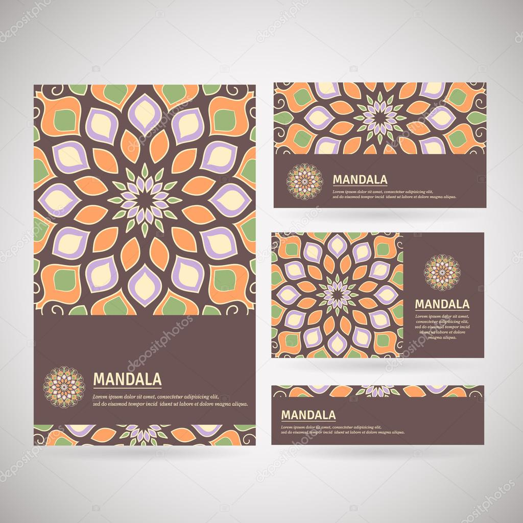 Set of ornamental business cards with flower mandala vetores de set of ornamental business cards with flower mandala in brown orange green colors vintage decorative elements indian asian arabic islamic reheart Gallery