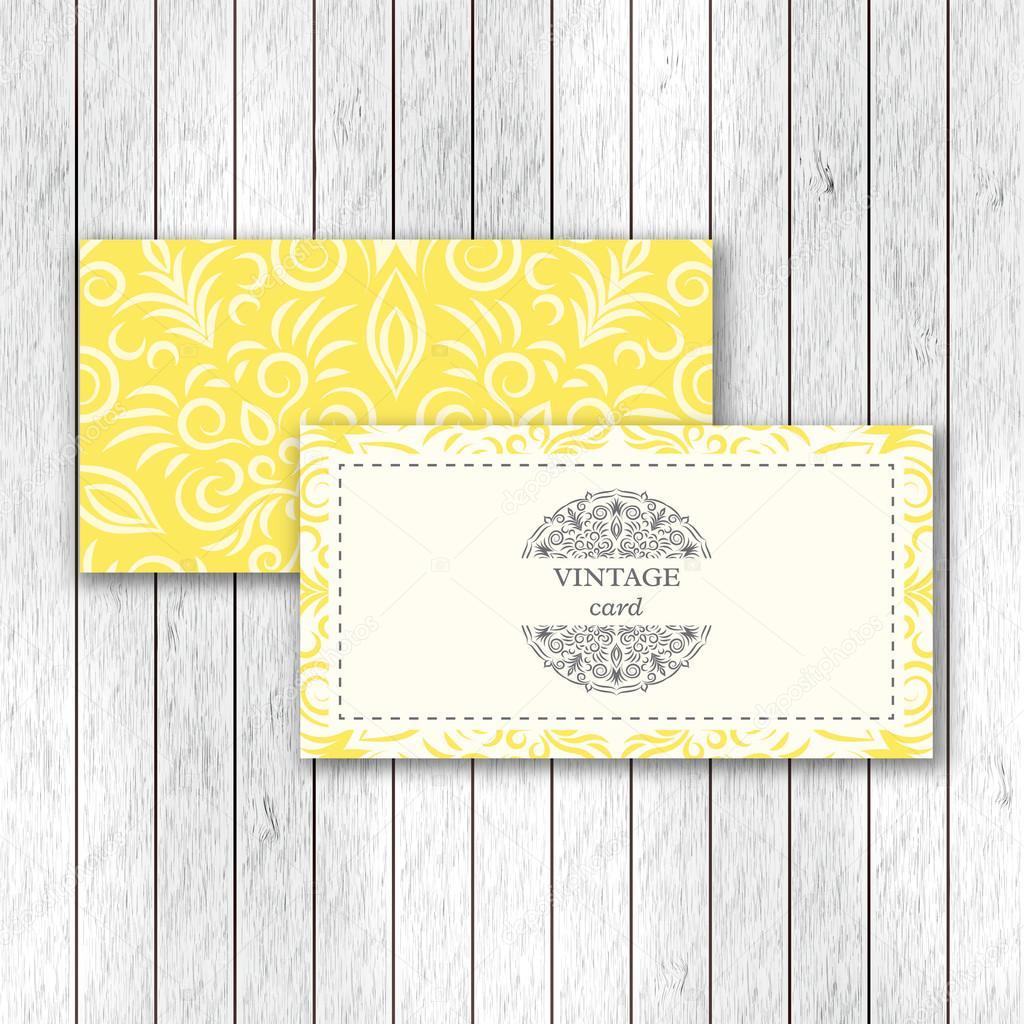 Satz Von Ornamentalen Visitenkarten Mit Blume Mandala, Einladung, Hochzeit,  Visitenkarte Vorlage. Vintage