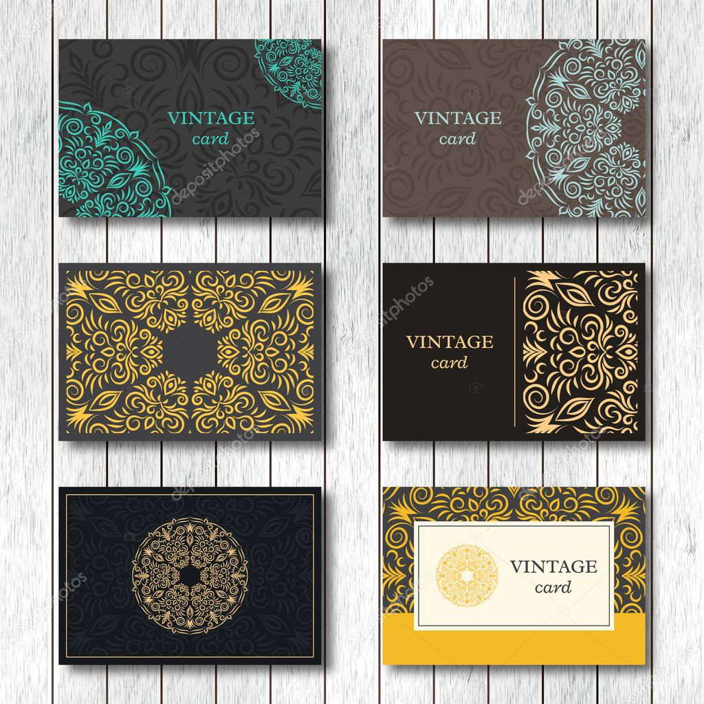 Set of ornamental business cards with flower mandala, visiting ...