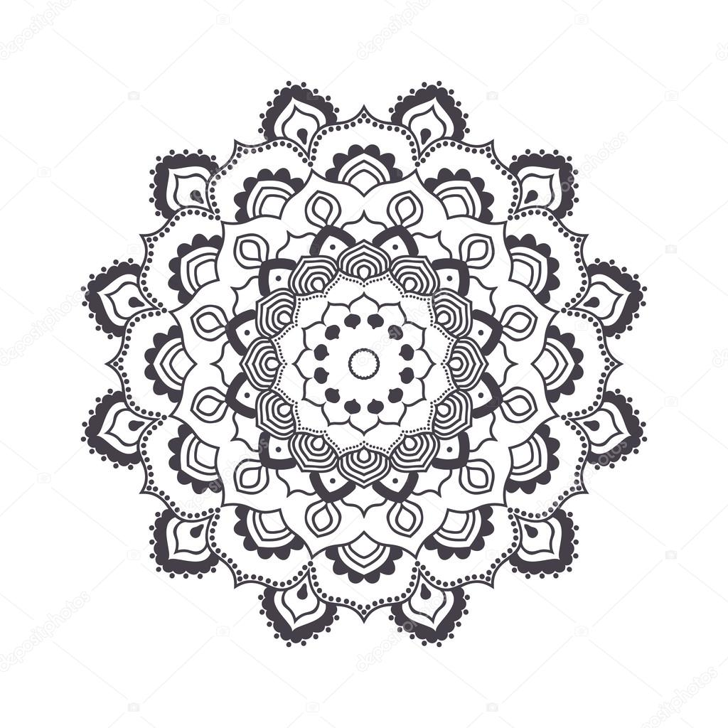 hand drawn flower mandala for coloring book black and white