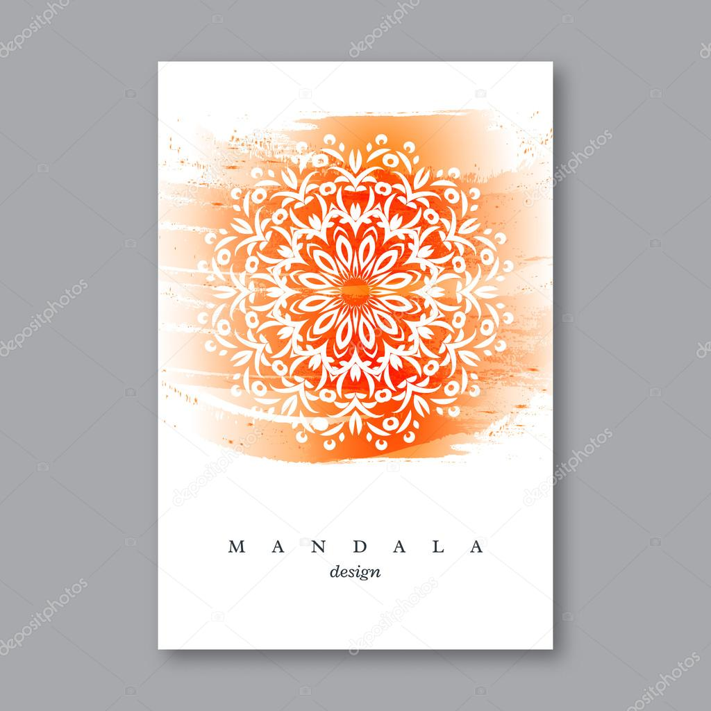 Invitación de la boda plantilla de tarjeta con mandala dibujado a ...