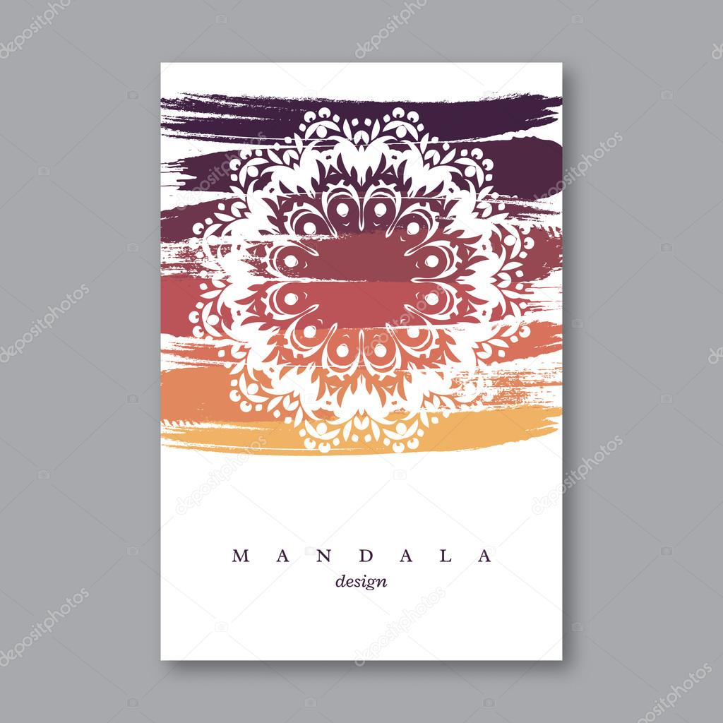 Invitation, wedding card template with hand drawn mandala, grunge ...