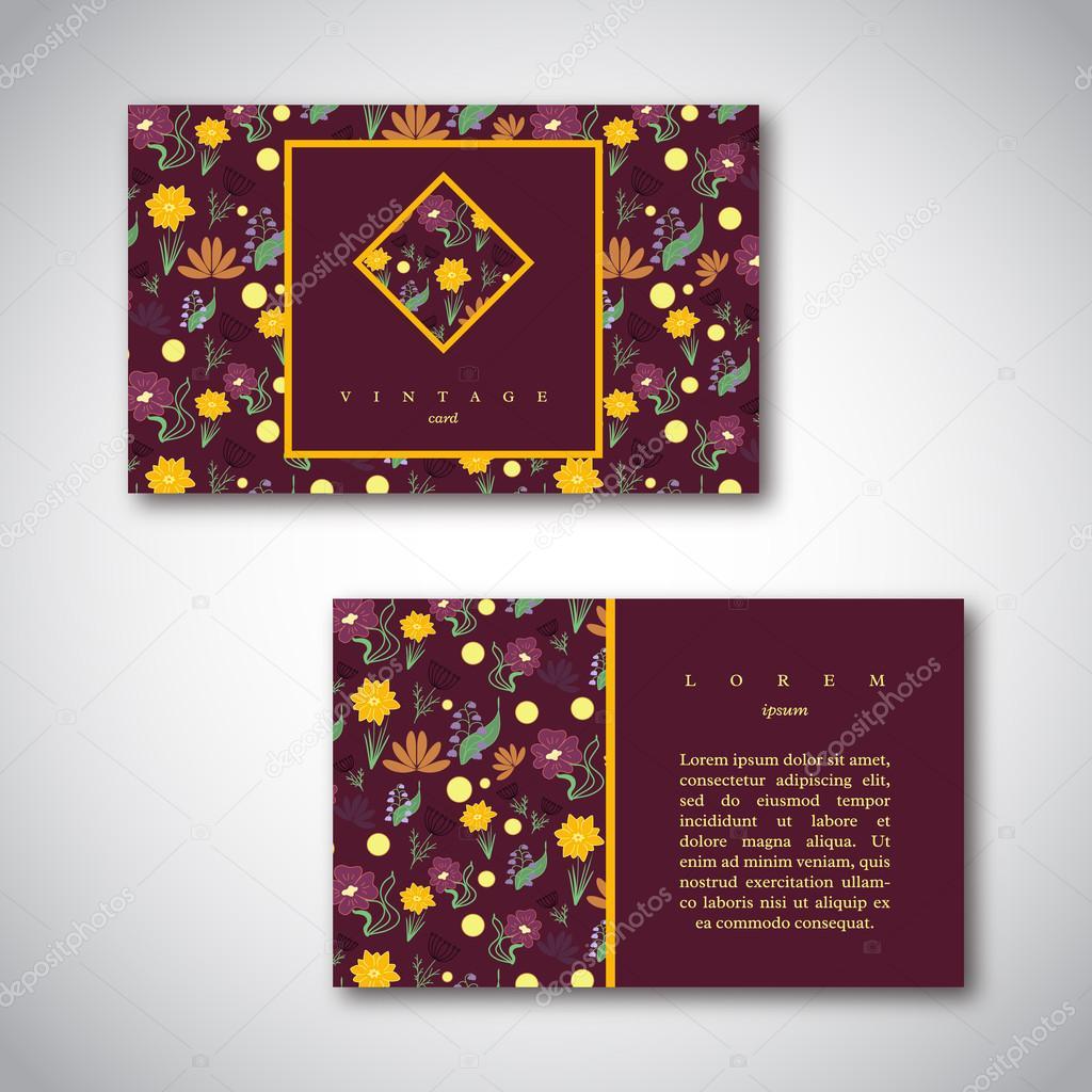 Satz von Visitenkarten mit floralem Muster. Vintage Kartenvorlagen ...