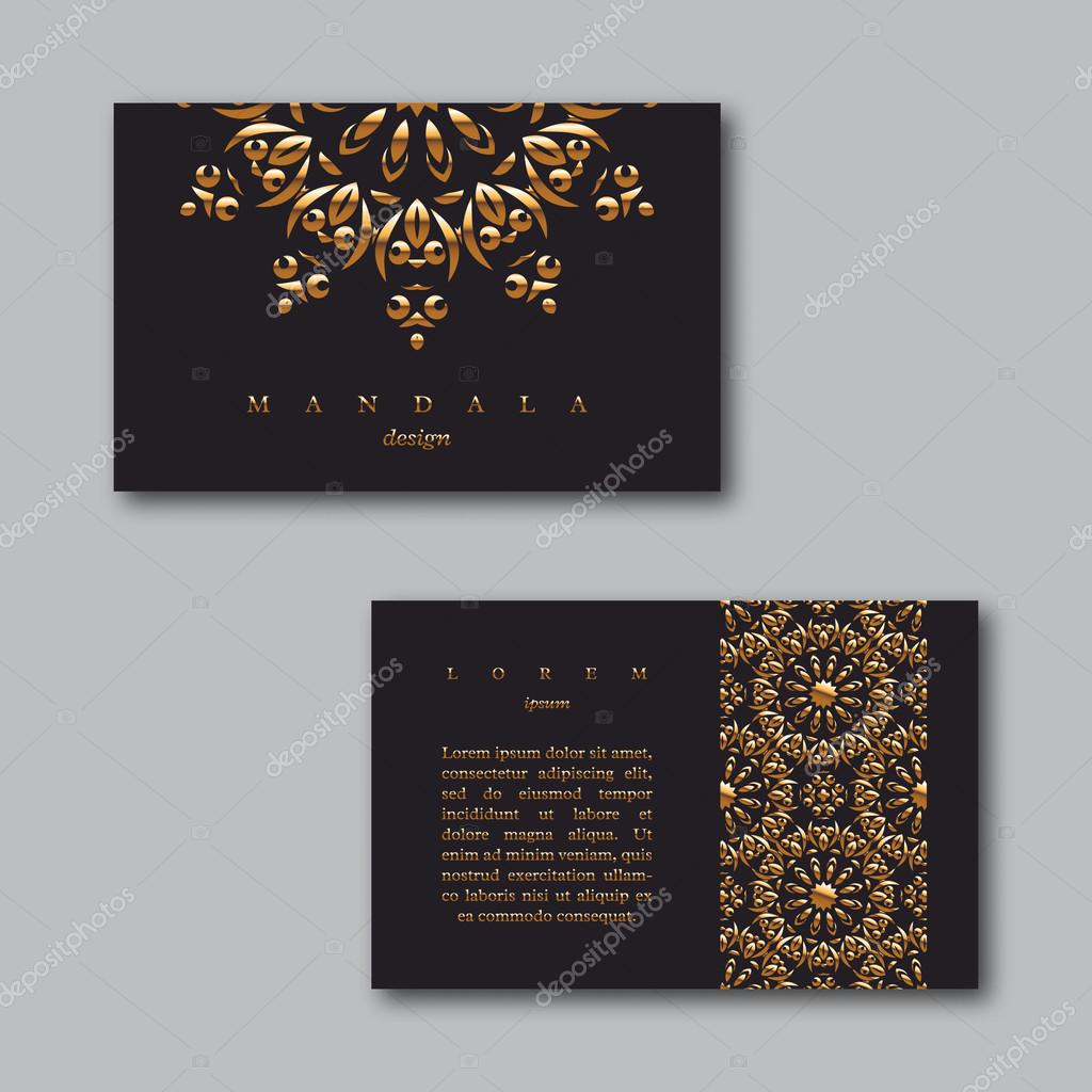Set of ornamental business golden cards with mandala and pattern ...