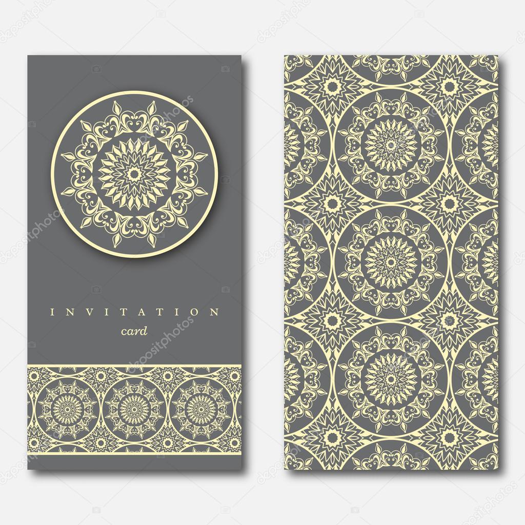 Conjunto de dos tarjetas, plantilla de felicitación, invitación ...