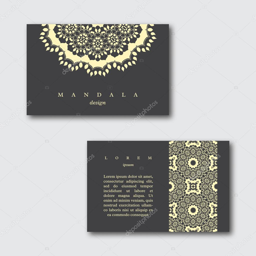 Set of ornamental business cards with hand drawn mandala and pattern ...