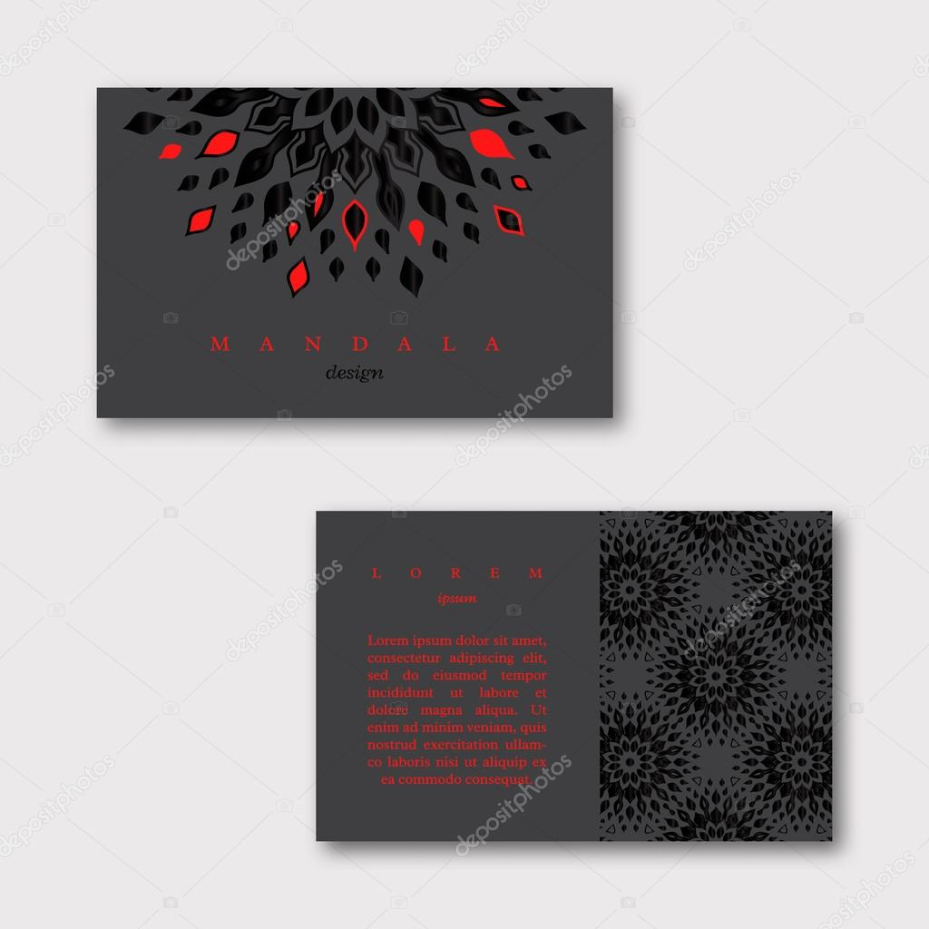 Set of ornamental business cards with mandala and pattern, visiting ...