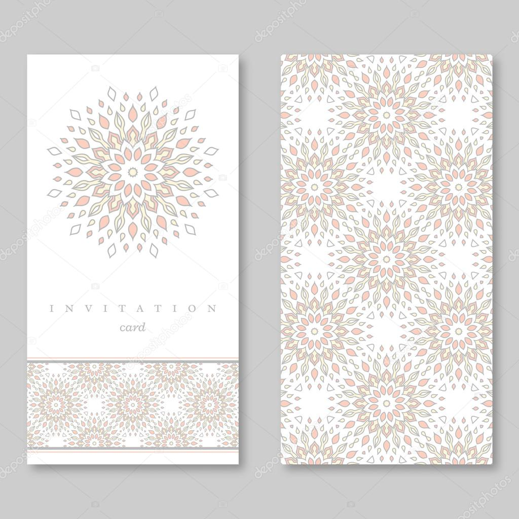 Set of two cards, template for greeting, invitation, wedding cards ...