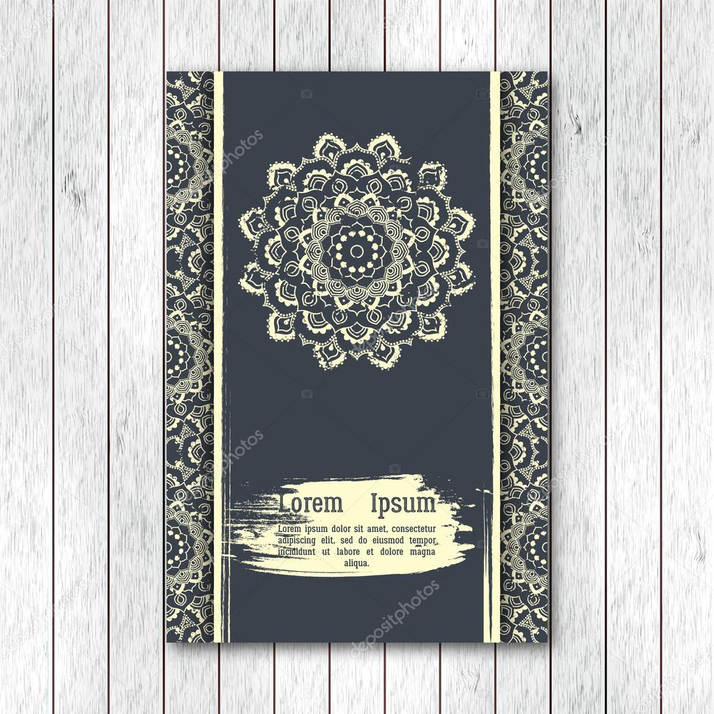 Template of greeting invitation card brochure with hand drawn template of greeting invitation card brochure with hand drawn mandala vintage oriental style stopboris Choice Image