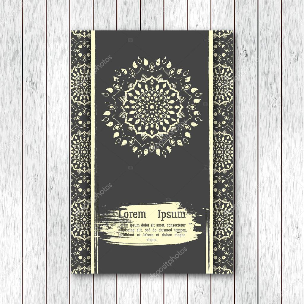 Template of greeting invitation card brochure with hand drawn template of greeting invitation card brochure with hand drawn mandala vintage oriental style with grunge effect indian asian arabic islamic stopboris Images