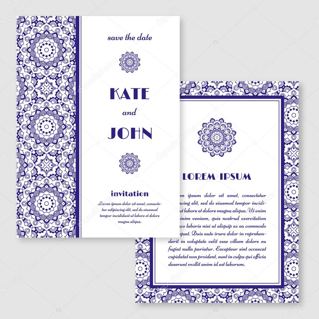 Wedding invitation greeting card with mandala pattern save the wedding invitation greeting card with mandala pattern save the date cards vintage oriental style vector illustration vetor por ludasikm79 gmail stopboris Gallery