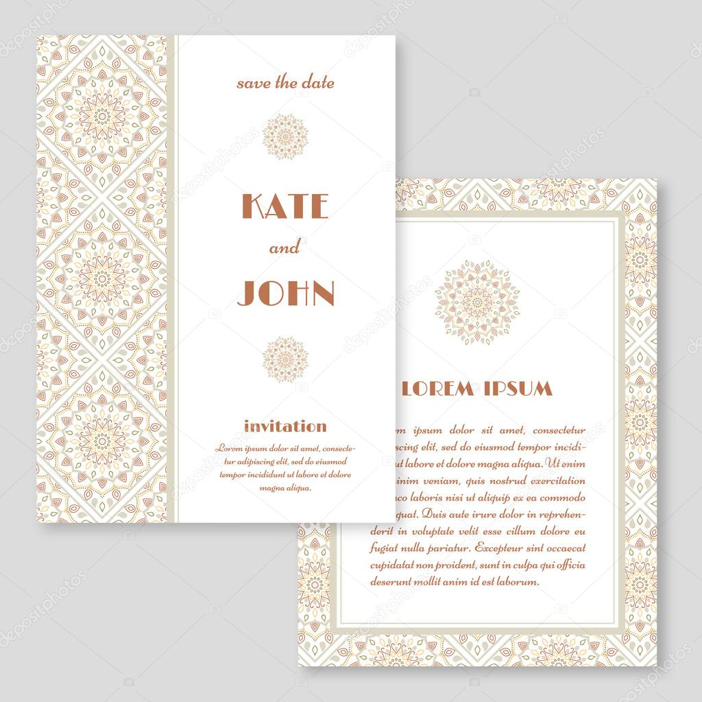 Wedding invitation greeting card with mandala pattern save the wedding invitation greeting card with mandala pattern save the date cards vintage oriental style vector illustration vetor de ludasikm79 gmail stopboris Gallery