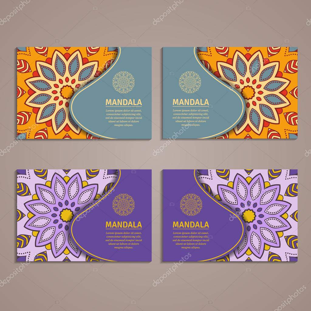 Ornamental colorful template for business card flyer or banner with ornamental colorful template for business card flyer or banner with flower mandala vetores reheart Choice Image