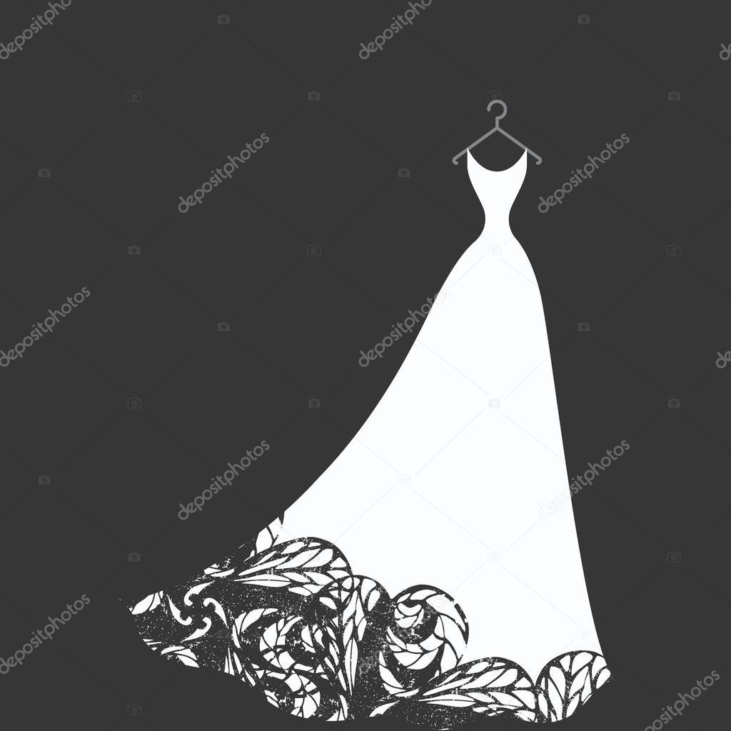 bridal dress on a hanger — Stock Vector © konekotanya.gmail.com ...