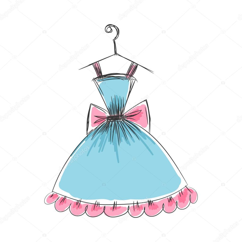 Boceto vestido corto | dibujo de una percha a mano vestido bola ...
