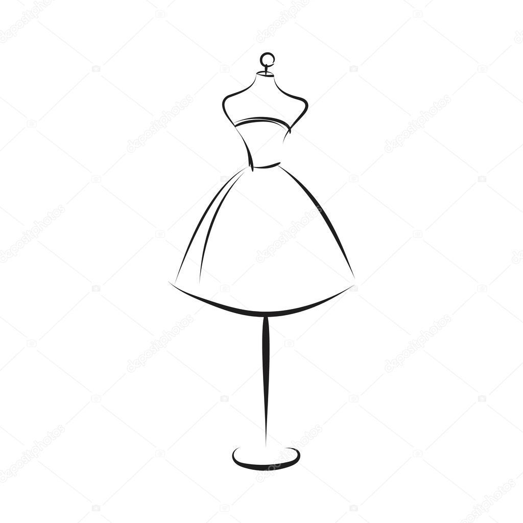 Vestido Contorno Maniquí — De Mano Stock Dibujo Vector qpSUzMV