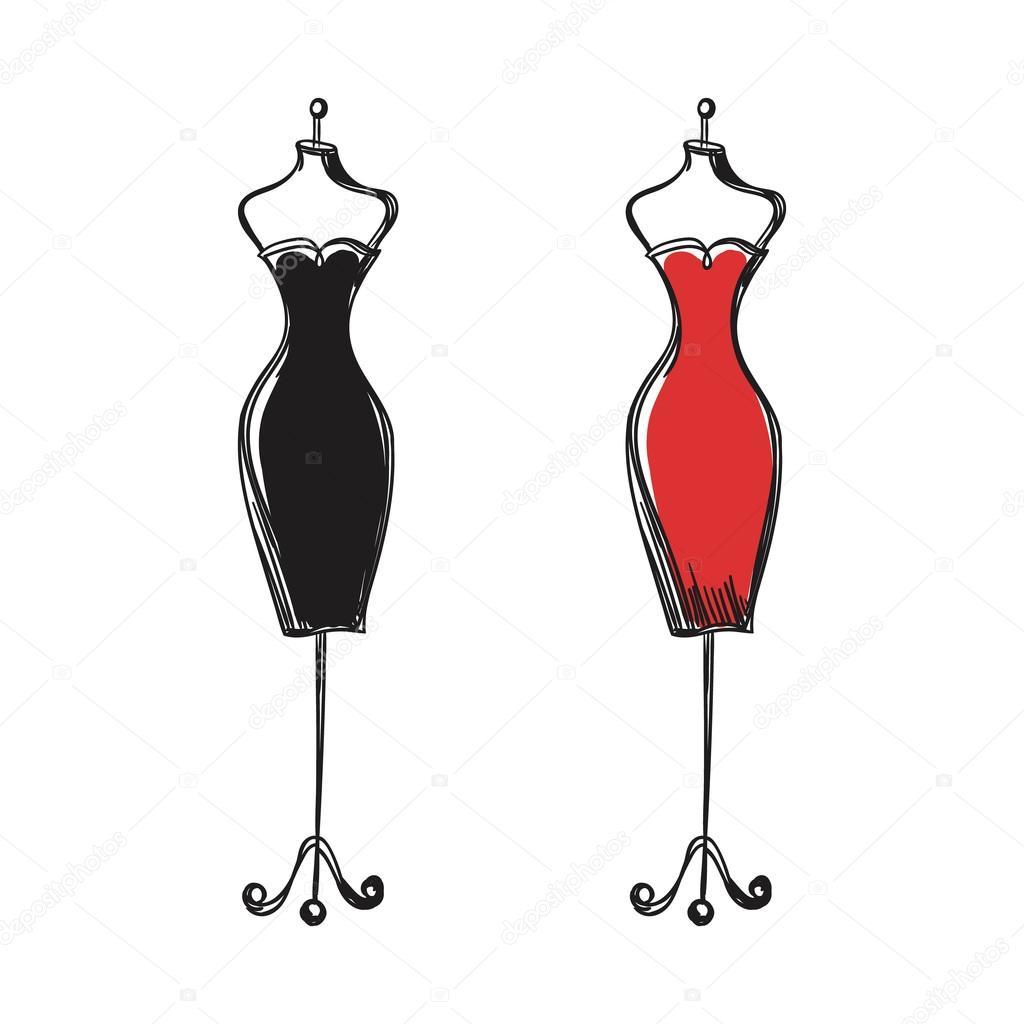 Рисунки платья на манекенах