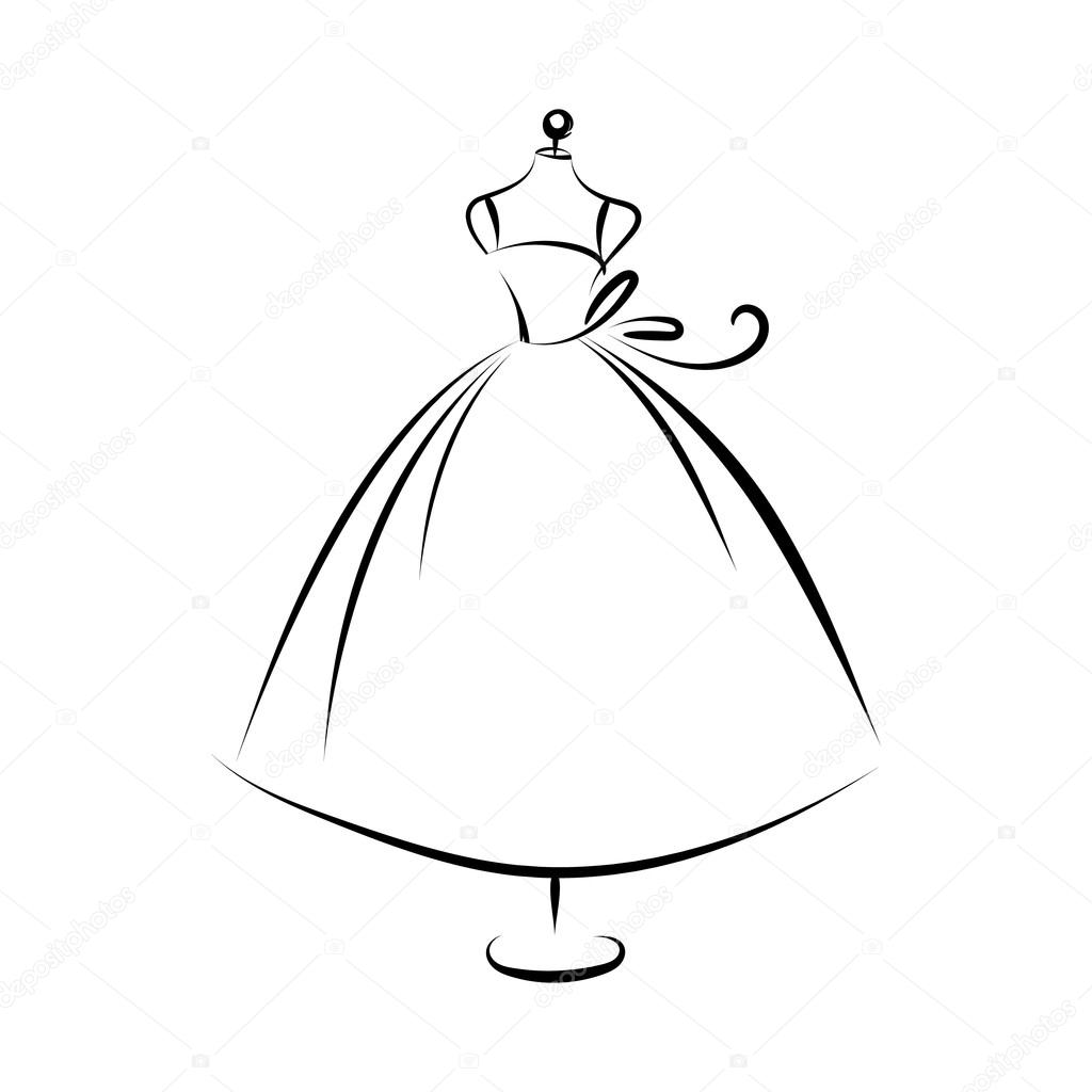 Dummy dress hand drawing contour — Stock Vector © konekotanya ...