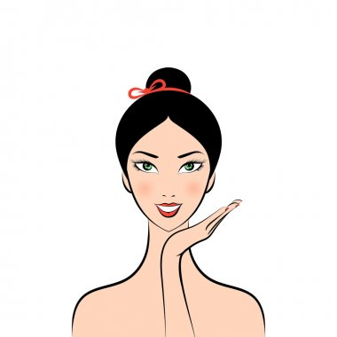 face glamorous girl cartoon