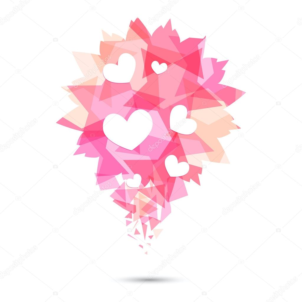 Pink Origami Heart On White Backdrop Stock Vector Konekotanya