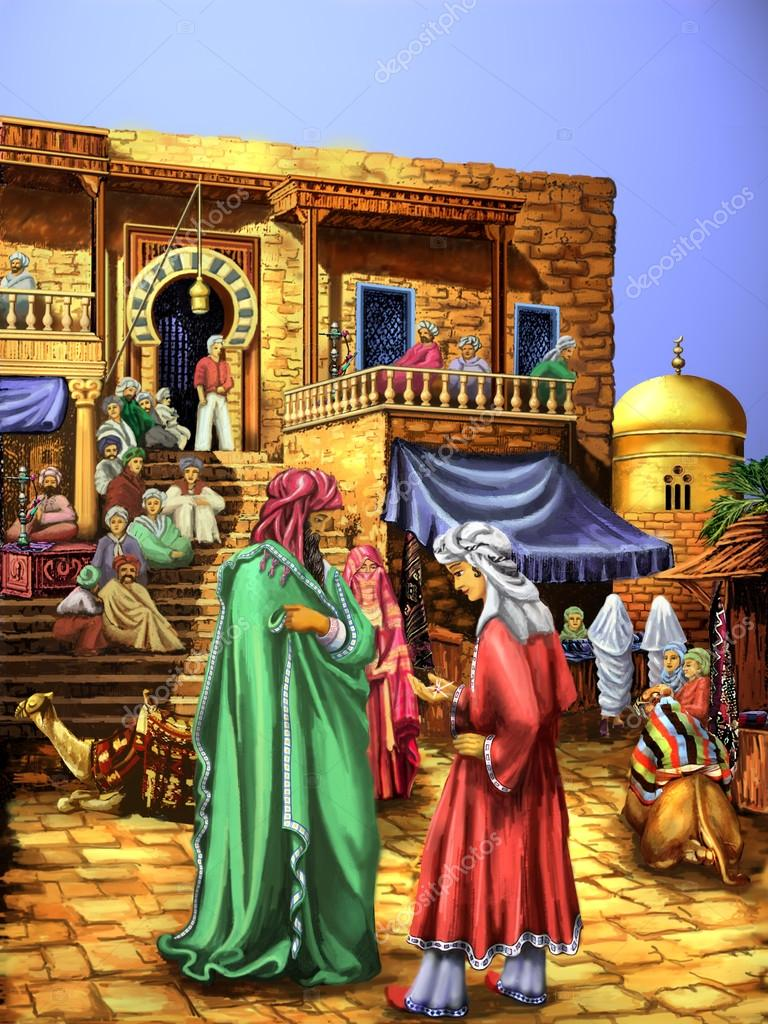 Dessin. Conte d\'Aladin. Personnes en tenue orientale sur la place de ...