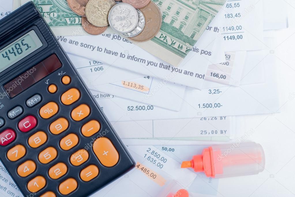 Hypothek Und Utility Rechnungen Münzen Und Banknoten