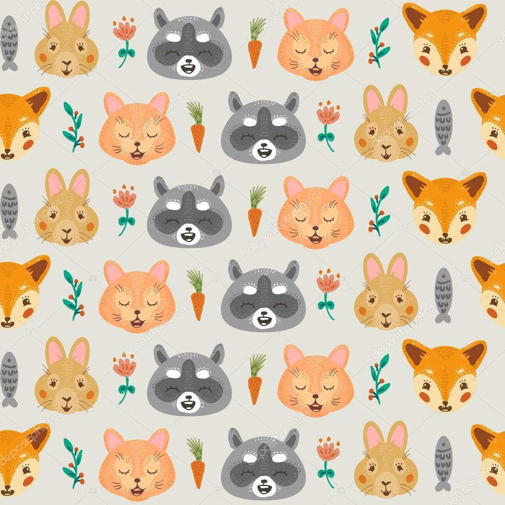 Mapache de patrones sin fisuras, gato, conejo, zorro — Foto de stock ...