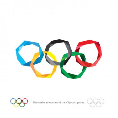 The Olympic rings. The Olympic rings. Alternative symbolism of the Olympic games. Polygonal rings of the Olympics