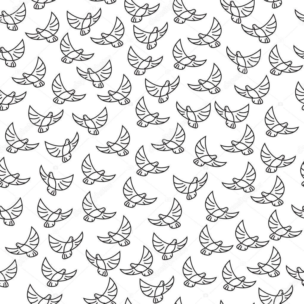 padrão de vetor sem costura com pássaros wallpapers de pássaros