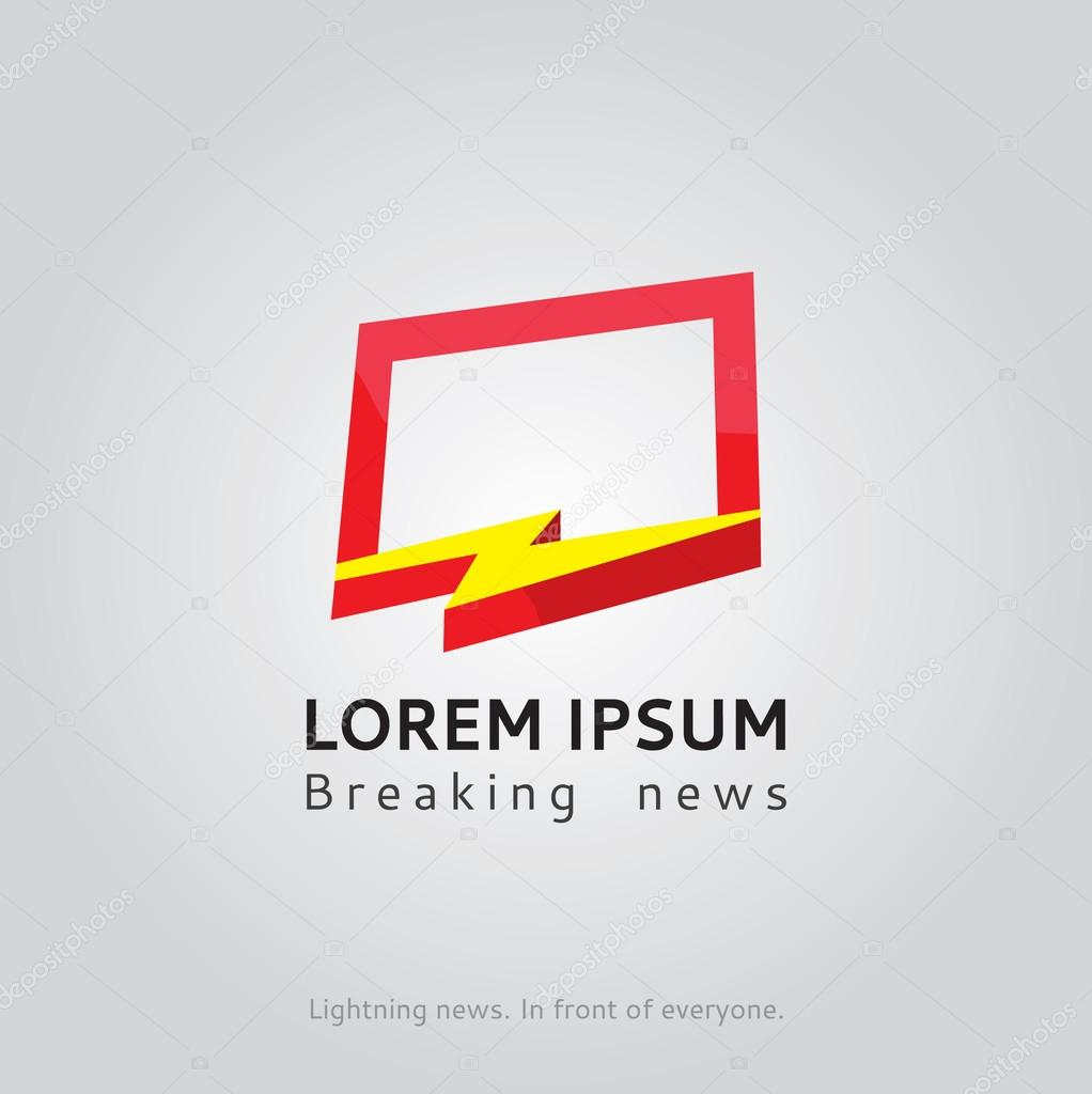 Lightning news logo template. The latest news TV vector logo. The ...