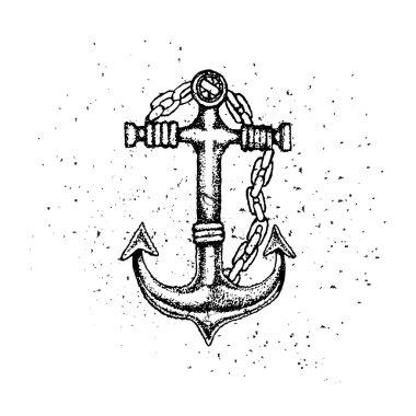 Old anchor retro vector illustration. Sea anchor with chain vector